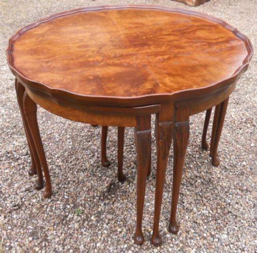 Large Round Mahogany Nest of Coffee Tables